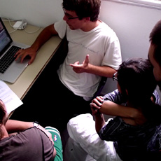 Students learning post-production video