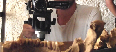 Student making an archaeological film