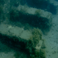 Portus Iulius submerged roman port at 3 to 5 meters of depth