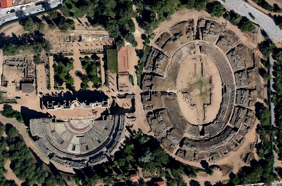 Merida Spain  city photos : Aerial view of the theater and the amphitheater of Merida Spain
