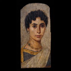 Gilded mummy portrait of a roman woman