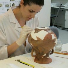 Student working in the laboratory of archaeological conservation