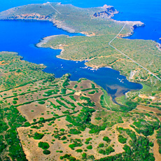 Aerial view of the Roman port of Sanisera (Menorca, Spain)