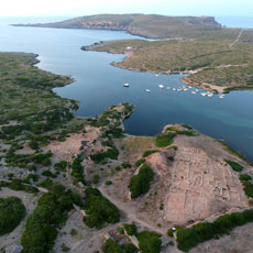 Aerial view of the north coast of Menorca and place where is the Roman port city of Sanisera