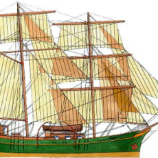 Typical illustration of a schooner from the 18th-19th centuries