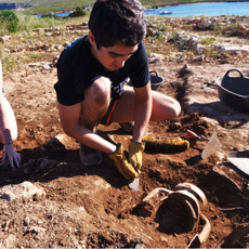 The Sanisera students digging in the fieldschool