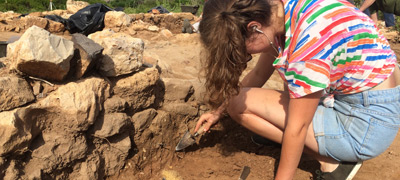 Young archaeologyst working